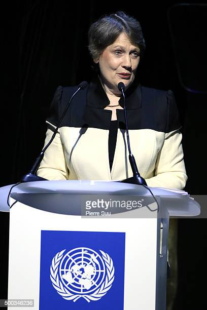 Helen Clark UNDP administrator presents the Equator Prize 2015 Award Ceremony at Theatre Mogador on December 7 2015 in Paris France