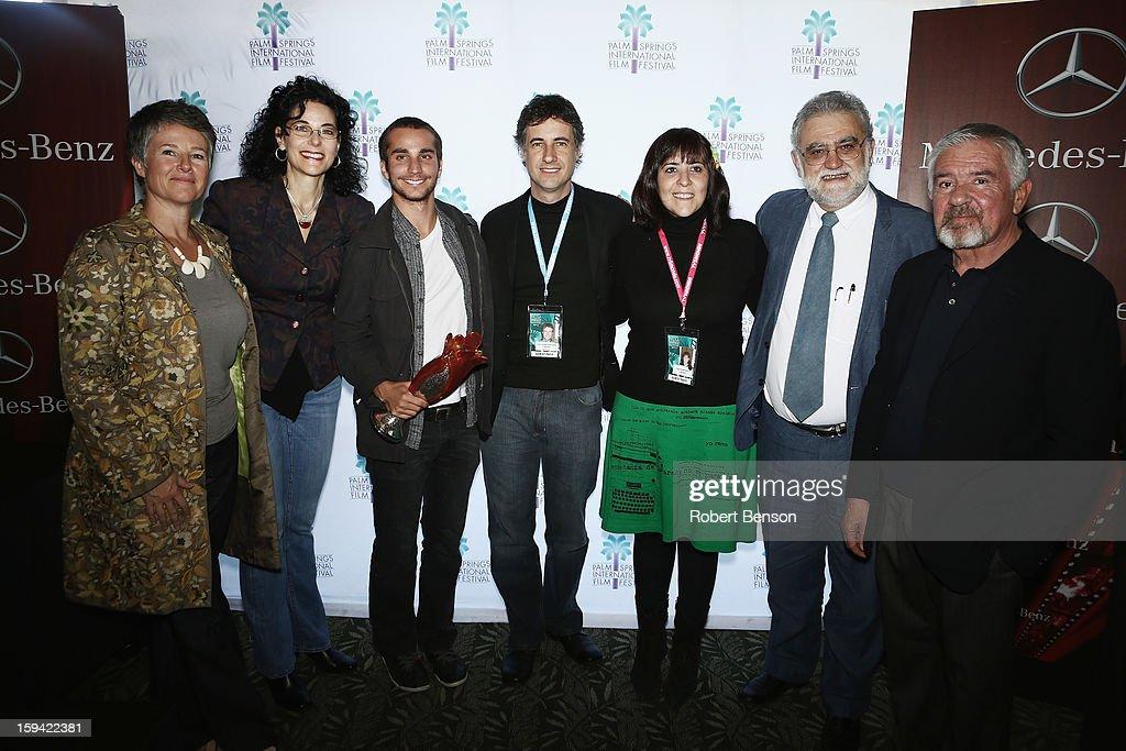 Helen Du Toit (L-R), Hebe Tabachnik, Adrian Saba, Juan Carlos Maneglia, Tana Schembori and Ivan Trujillo and Darryl MacDonald at a Festival Awards Brunch at the 24th Annual Palm Springs International Film Festival on January 13, 2013 in Palm Springs, California.