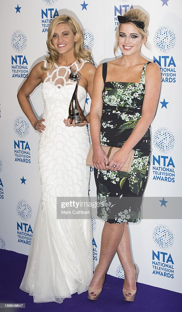 Helen Flanagan and Ashley Roberts winners of Entertainment Program for 'I'm A CelebrityGet Me Out of Here' poses in the Winners room at the National...