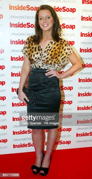 Helen Flanagan arrives for the Inside Soap Nominations party at the Oyster Bar and Restaurant Great John Street Manchester