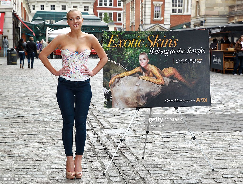 Helen Flanagan unveils her new PETA campaign at Covent Garden Piazza on May 23, 2013 in London, England.