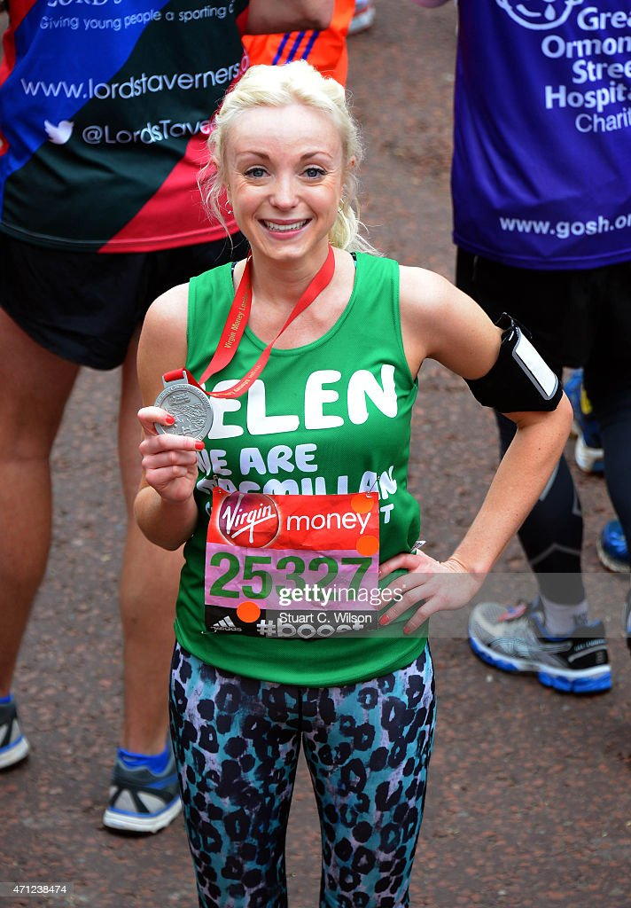 Helen George poses at the finish line during The London Marathon 2015 on April 26, 2015 in London, England.