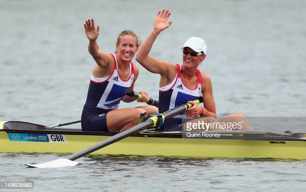 Helen Glover and Heather Stanning celebrate after winning gold in the Women's Pair Final during the Men's Single Sculls on Day 5 of the London 2012...