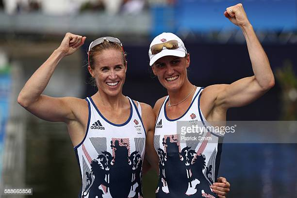 Helen Glover and Heather Stanning of Great Britain celebrate winning the gold medal after the Women's Pair Final A on Day 7 of the Rio 2016 Olympic...