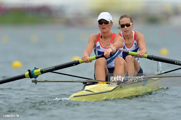 Helen Glover and Heather Stanning of Great Britain compete in the women's pair final A to win the gold medal in the rowing event on Day 5 of the...