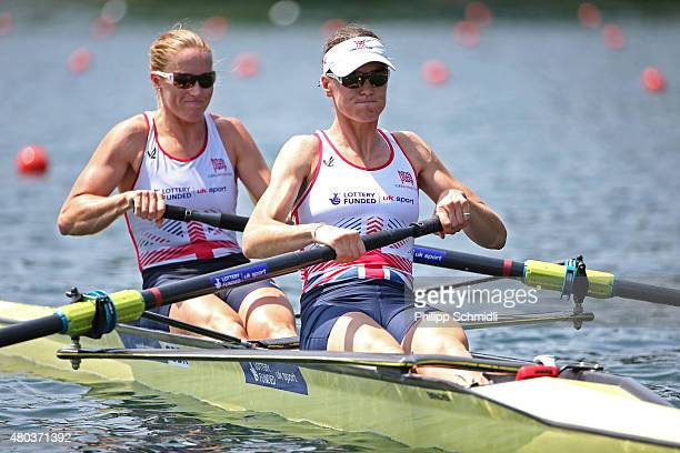 Helen Glover and Heather Stanning of Great Britain compete in the Women's Pair Semifinal during Day 2 of the 2015 World Rowing Cup III on Lucerne...