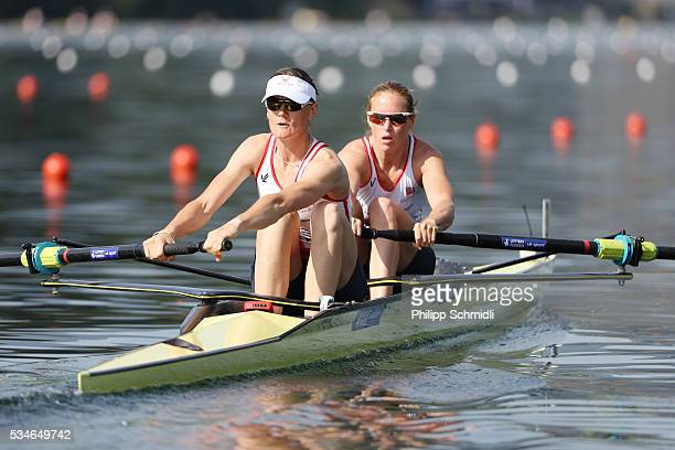 Helen Glover and Heather Stanning of Great Britain compete in the Women's Pair heats during day 1 of the 2016 World Rowing Cup II at Rotsee on May 27...