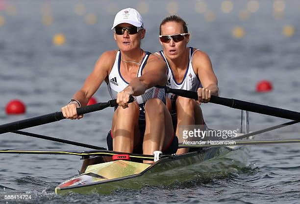 Helen Glover and Heather Stanning of Great Britain compete in the Women's Pair Semi Finals on Day 6 of the 2016 Rio Olympics at Lagoa Stadium on...