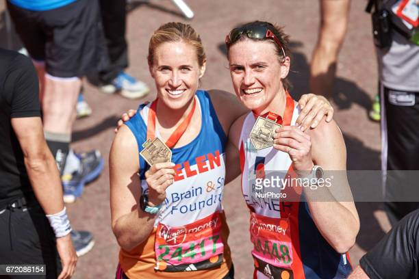 Helen Glover and Heather Stanning pose for a photo after completing the Virgin London Marathon on April 23 2017 in London England