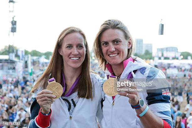 Helen Glover and Heather Stanning who won gold in the women's pairs rowing competition at the London 2012 Olympics pose on stage with their gold...