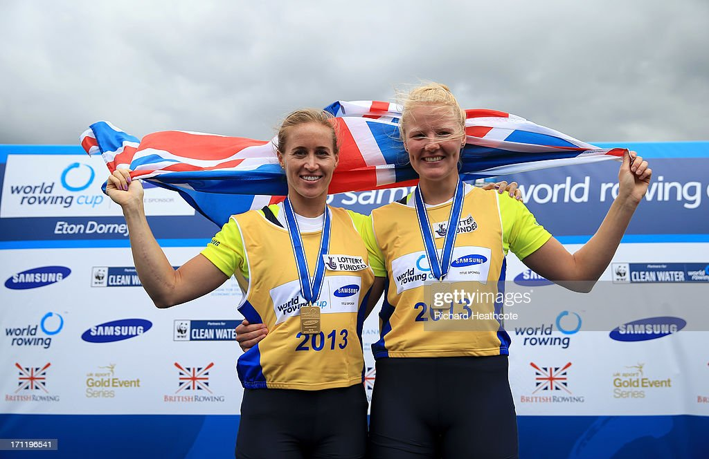 Helen Glover and Polly Swann of Great Britain celebrate winning the Women's Pair final during the third day of the 2013 Samsung World Rowing Cup II at Eton Dorney on June 23, 2013 in Windsor, England.