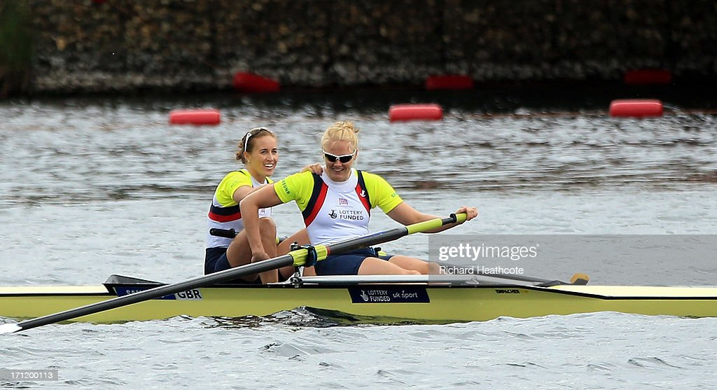 Helen Glover and Polly Swann of Great Britain row to victory in the Women's Pair final during the third day of the 2013 Samsung World Rowing Cup II at Eton Dorney on June 23, 2013 in Windsor, England.