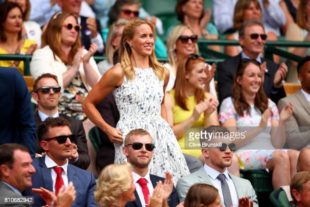 Helen Glover is introduced to the crowd from the centre court royal box on day six of the Wimbledon Lawn Tennis Championships at the All England Lawn...