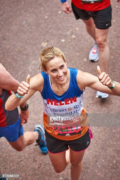Helen Glover smiles after completing the Virgin London Marathon on April 23 2017 in London England
