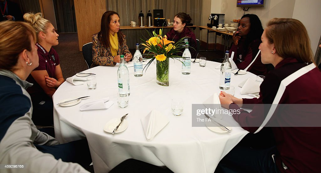 Helen Grant UK Minister for Sport Tourism pictured with Stephanie Houghton Siobhan Chamberlain Maryanne Massey Jade Moore and Eniola Aluko of England...