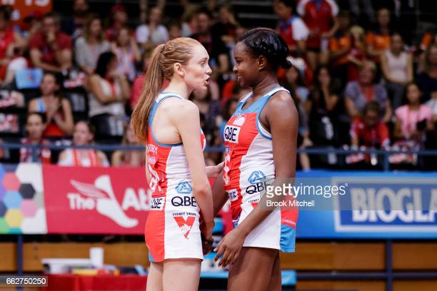 Helen Housby and Sam Wallace of the Swifta during the round seven Super Netball match between the Swifts and the Giants at Sydney Olympic Park Sports...