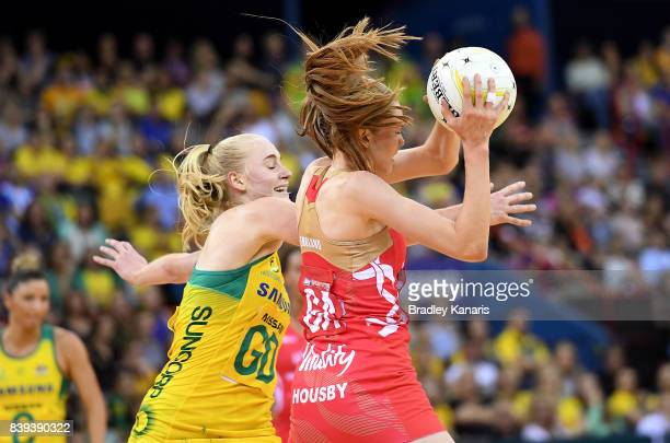 Helen Housby of the Roses is pressured by the defence during the 2017 Netball Quad Series match between the Australian Diamonds and the England Roses...