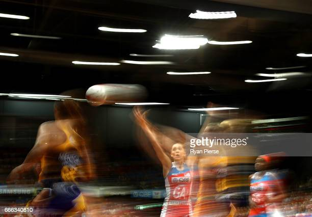 Helen Housby of the Swifts competes for the ball against Erena Mikaere of the Lightning during the round eight Super Netball match between the NSW...