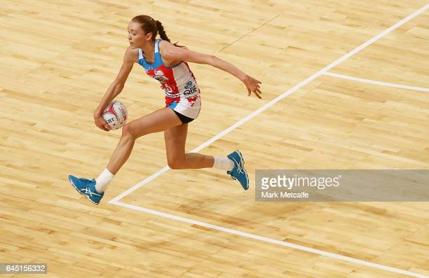 Helen Housby of the Swifts in action during the round two Super Netball match between the Sydney Swifts and the Adelaide Thunderbirds at Qudos Bank...