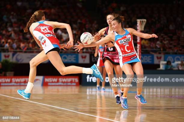 Helen Housby of the Swifts passes to Maddy Proud of the Swifts during the round two Super Netball match between the Sydney Swifts and the Adelaide...
