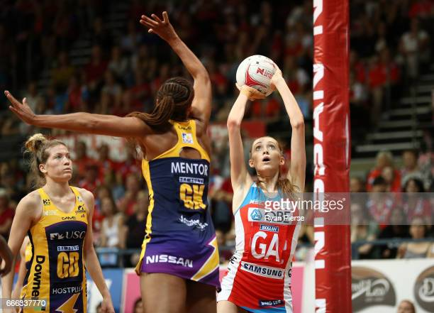 Helen Housby of the Swifts shoots at goal during the round eight Super Netball match between the NSW Swifts and the Sunshine Coast Lightning at...