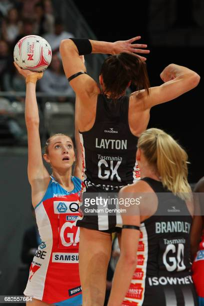 Helen Housby of the Swifts shoots during the round 12 Super Netball match between the Magpies and the Swifts at Hisense Arena on May 13 2017 in...