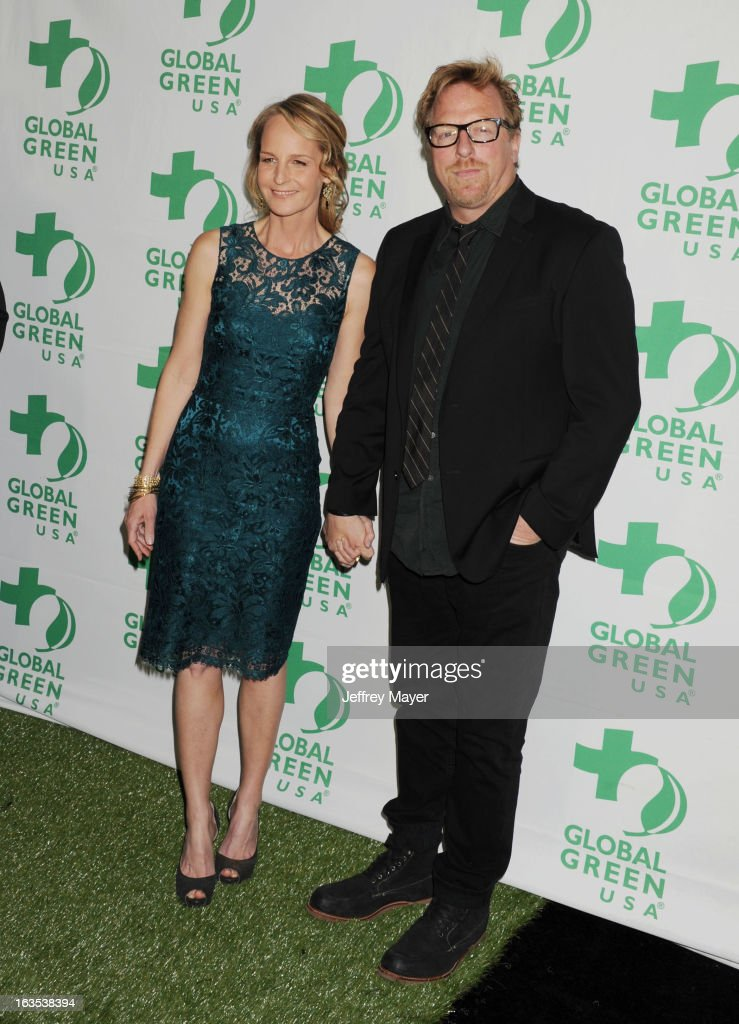 Helen Hunt and Matthew Carnahan arrive at Global Green USA's 10th Annual PreOscar party at Avalon on February 20 2013 in Hollywood California