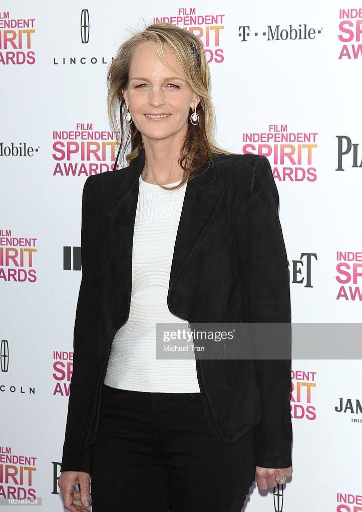 Helen Hunt arrives at the 2013 Film Independent Spirit Awards held on February 23, 2013 in Santa Monica, California.