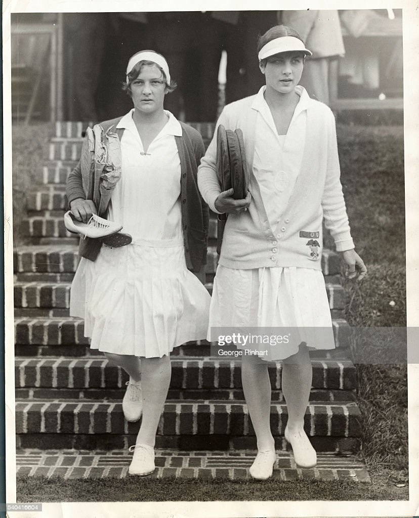 Helen Jacobs Walking Next to Helen Wills