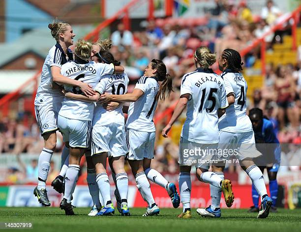Helen Lander of Chelsea Ladies FC celebrates her goal with teammates during the FA Women's Cup Final between Birmingham City Ladies FC and Chelsea...
