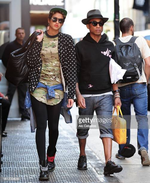 Helen Lasichanh and Pharrell Williams are seen in Soho on September 19 2013 in New York City