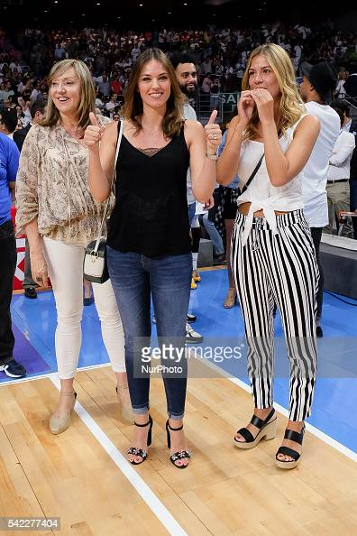 Helen Lindes wife of Rudy Fernndez of Real Madrid celebrate their victory over the 201516 ACB League FC Barcelona in the Barclaycard Center in Madrid...