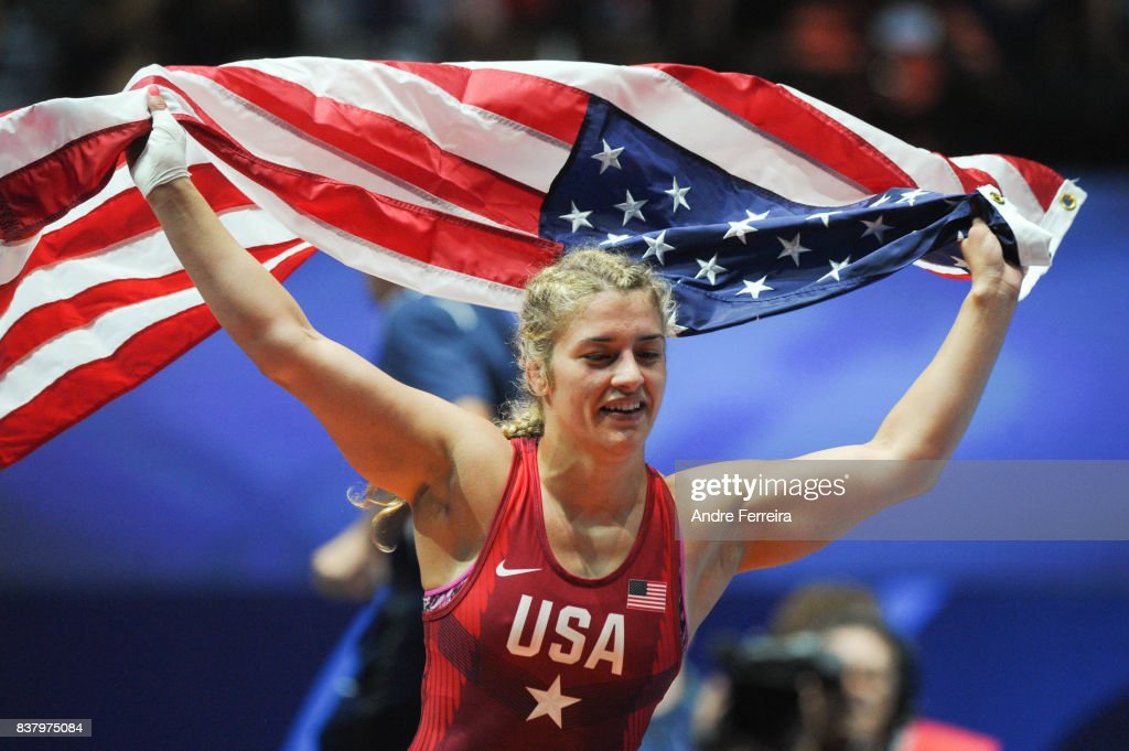 Helen Louise Maroulis of USA celebrates during the female 58 kg wrestling competition of the Paris 2017 Women's World Championships at AccorHotels Arena on August 23, 2017 in Paris, France.