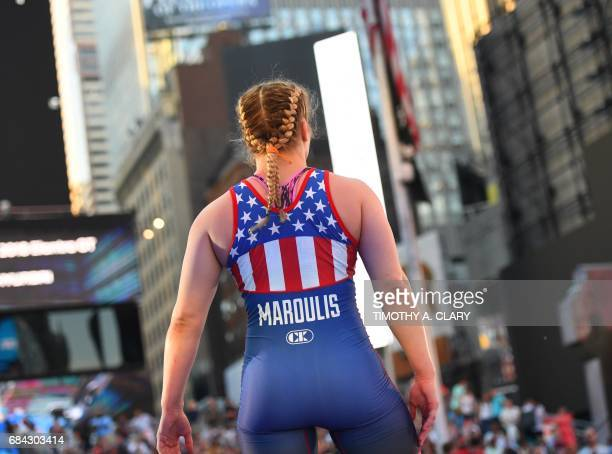 Helen Maroulis of the United States wrestles Yuzuru Kumano from Japan in the Womens freestyle 58 kg/128 lbs match during the Beat The Streets event...