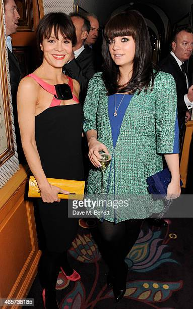 Helen McCrory and Lily Allen attend the Charles Finch and Chanel PreBAFTA cocktail party and dinner at Annabel's on February 9 2013 in London England