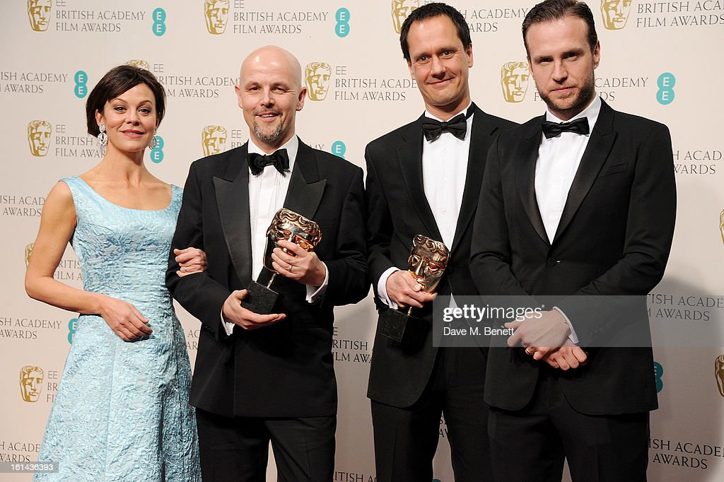 Helen McCrory, Peter Carlton and Diarmid Scrimshaw, winners of the Short Film award for 'Swimmer, and Rafe Spall pose in the Press Room at the EE British Academy Film Awards at The Royal Opera House on February 10, 2013 in London, England.
