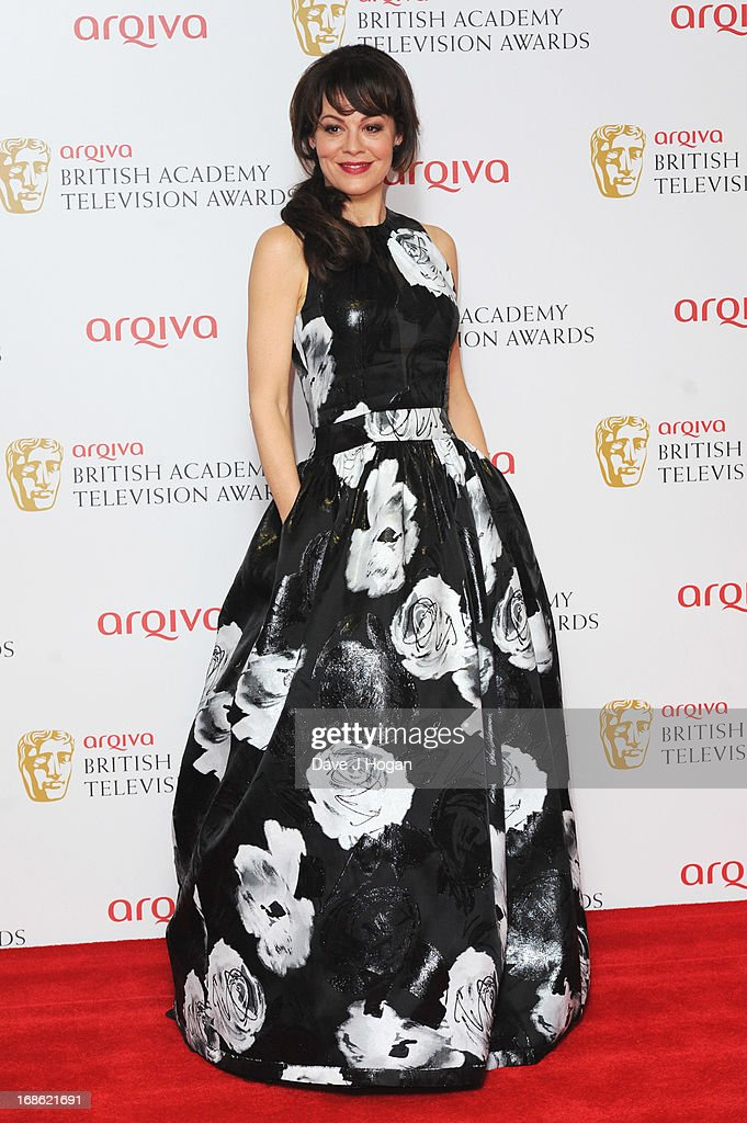 Helen McCrory poses in front of the winners boards at the BAFTA TV Awards 2013 at The Royal Festival Hall on May 12, 2013 in London, England.