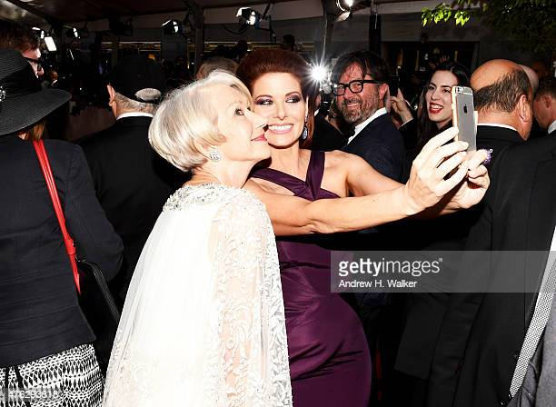 Helen Mirren and Debra Messing attend the 2015 Tony Awards at Radio City Music Hall on June 7 2015 in New York City