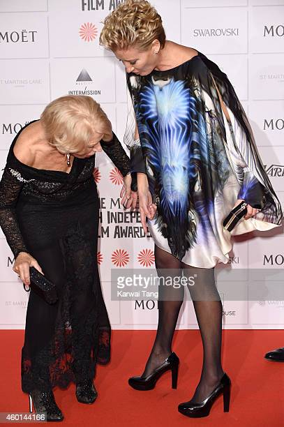 Helen Mirren and Emma Thompson attends the Moet British Independent Film Awards at Old Billingsgate Market on December 7 2014 in London England