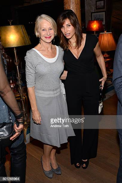 Helen Mirren and Gina Gershon attend a celebration for Bryan Cranston at House of Elyx on December 13 2015 in New York City