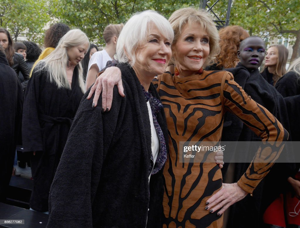 Helen Mirren and Jane Fonda attend Le Defile L'Oreal Paris as part of Paris Fashion Week Womenswear Spring/Summer 2018 at Avenue Des Champs Elysees on October 1, 2017 in Paris, France.