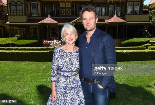 Helen Mirren and Jason Clarke stars of the new CBS Films' 'Winchester' pose at 'Winchester' Mystery House on May 5 2017 in San Jose California