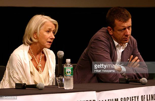 Helen Mirren and Peter Morgan writer during New York Film Festival 'The Queen' Press Conference at Walter Reade Theater in New York City New York...