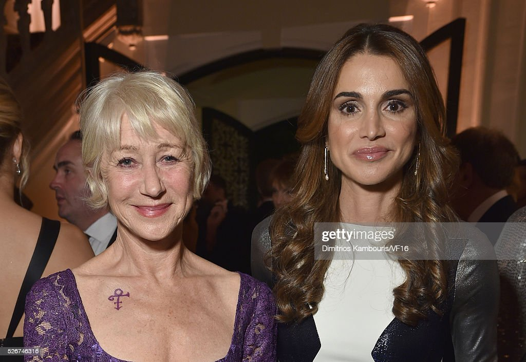 Helen Mirren and Queen Rania of Jordan attend the Bloomberg & Vanity Fair cocktail reception following the 2015 WHCA Dinner at the residence of the French Ambassador on April 30, 2016 in Washington, DC.