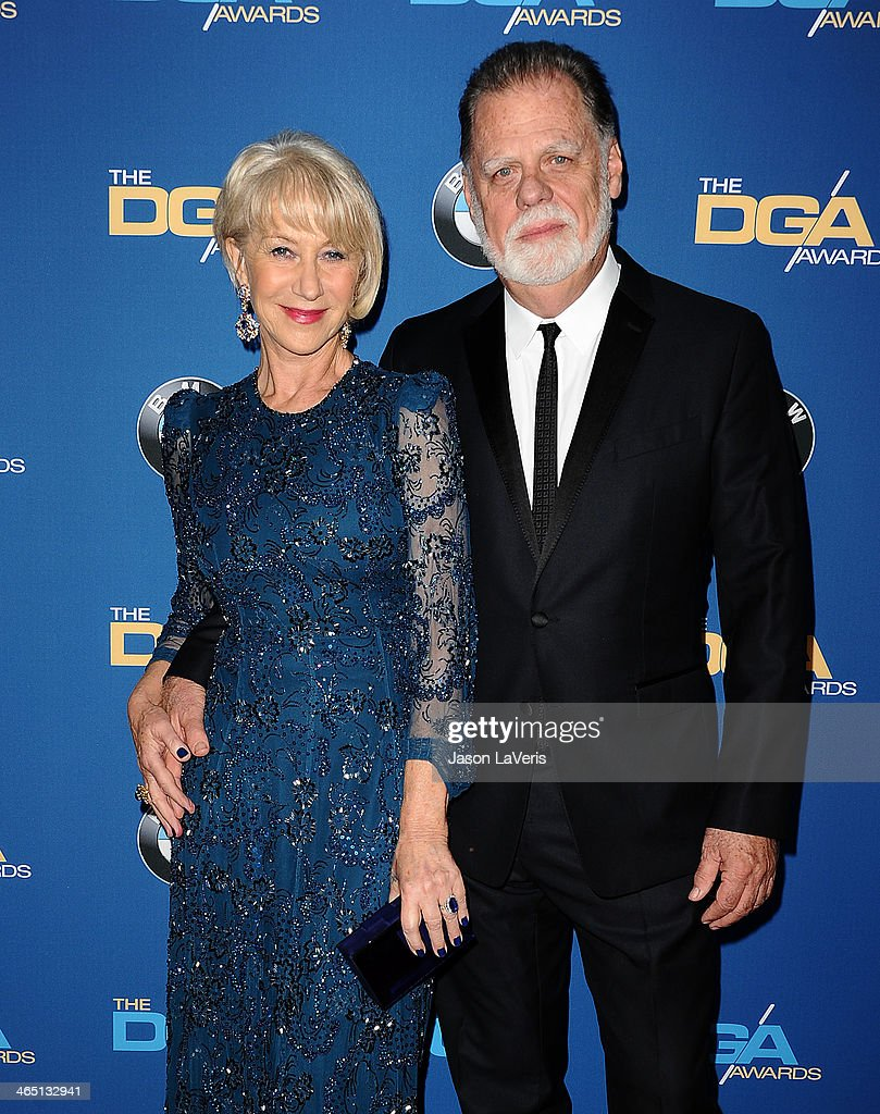 Helen Mirren and Taylor Hackford attend the 66th annual Directors Guild of America Awards at the Hyatt Regency Century Plaza on January 25 2014 in...