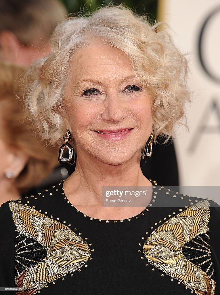 Helen Mirren arrives at the 70th Annual Golden Globe Awards at The Beverly Hilton Hotel on January 13, 2013 in Beverly Hills, California.