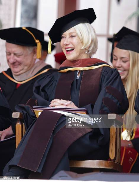 Helen Mirren attends the University Of Southern California 134th Commencement Ceremonies at The Shrine Auditorium on May 12 2017 in Los Angeles...