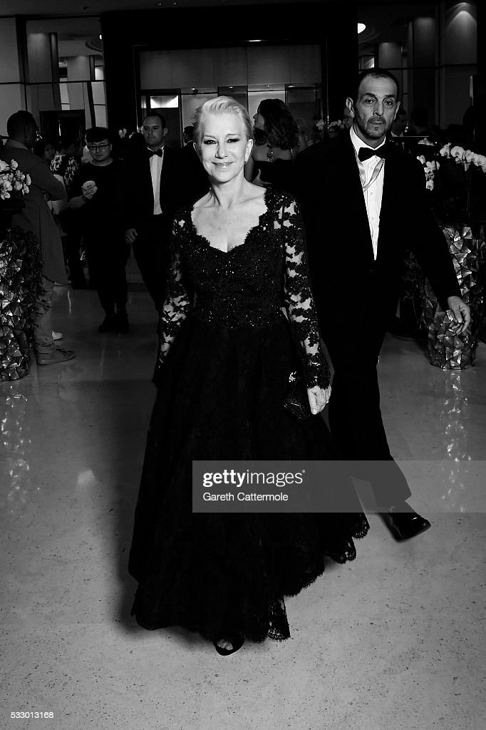 Helen Mirren departs the Martinez Hotel during the 69th annual Cannes Film Festival on May 17 2016 in Cannes France
