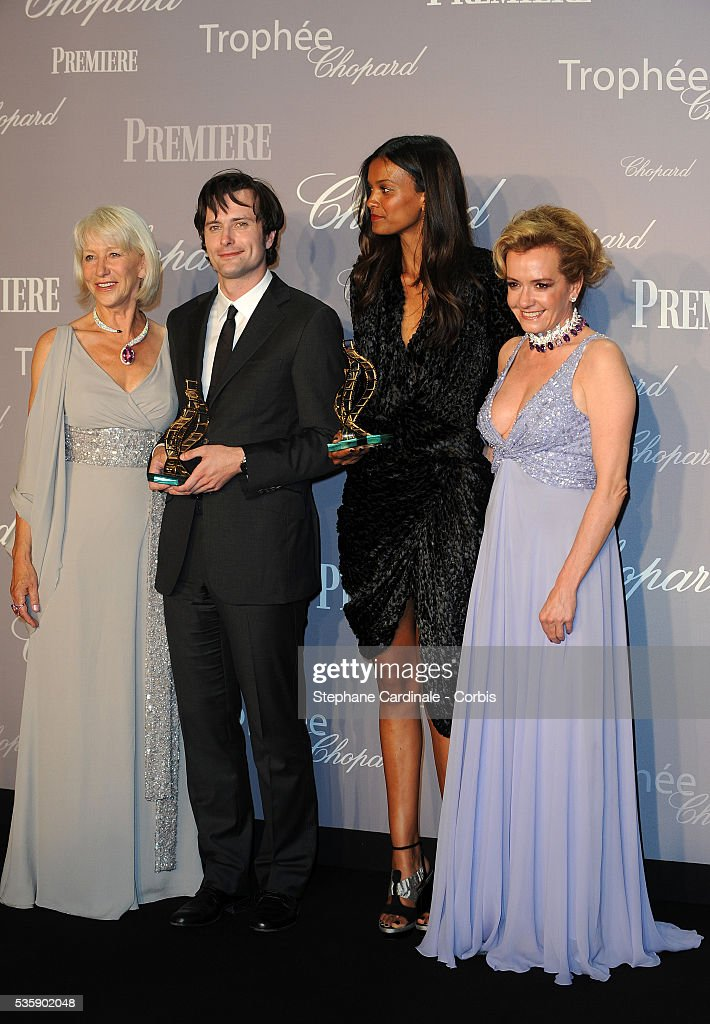 Helen Mirren, Edward Hogg, Liya Kebede and Caroline Gruosi- Scheufele at the Chopard Trophy during the 63rd Cannes International Film Festival.