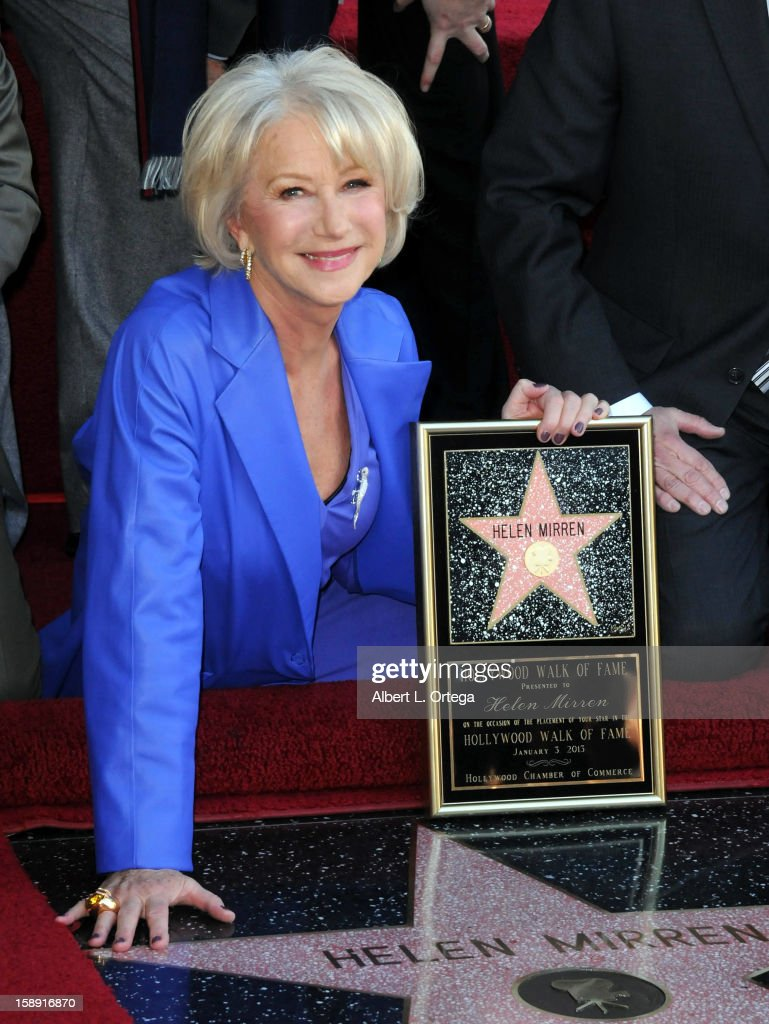 <a gi-track='captionPersonalityLinkClicked' href=/galleries/search?phrase=Helen+Mirren&family=editorial&specificpeople=201576 ng-click='$event.stopPropagation()'>Helen Mirren</a> is honored on the Hollywood Walk of Fame on January 3, 2013 in Hollywood, California.